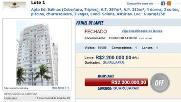 Triplex atribuído a Lula é arrematado por R$ 2,2 milhões