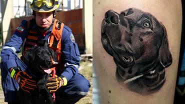 Bombeiro faz tatuagem em homenagem a cão que morreu durante resgate em SC