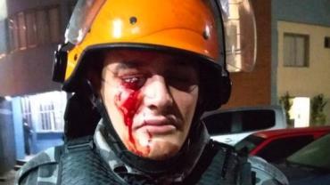 PM é atingido no olho durante confronto em protesto no RS