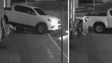 Em vídeo, motorista dá ré e atropela morador de rua em frente a igreja