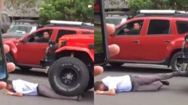 Motorista de ônibus é atropelado após se envolver em acidente; assista