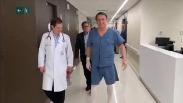 Após cirurgia, Bolsonaro divulga vídeo de caminhada pelo corredor de hospital