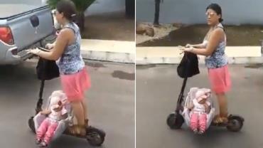 Mulher é flagrada carregando bebê em patinete elétrico; vídeo