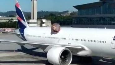Balão cai em avião no Aeroporto Internacional de Guarulhos, em São Paulo; Vídeo