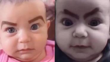 """Mãe é criticada após pintar sobrancelhas da filha bebê para """"se divertir"""" em quarentena"""