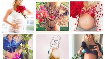 Karina Bacchi celebra 34 semanas de gravidez com flores no barrigão