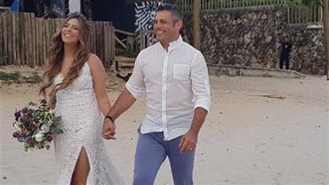 Luigi Baricelli leva a filha Rubia ao altar em casamento na praia de Maresias