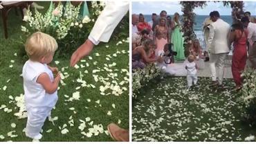Que fofura! Filho de Karina Bacchi, Enrico, leva alianças em casamento