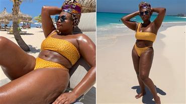 "De biquíni, Gaby Amarantos exibe corpo natural e diz: ""Bota a Aruba no sol"""