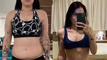 """Mulher de Ferrugem mostra foto de antes e depois após perder 25kg: """"Mudei pra mim"""""""