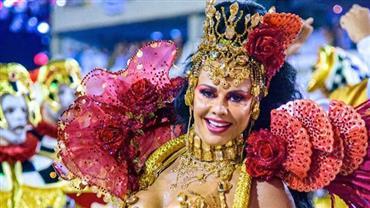Viviane relembra foto de desfile como rainha de bateria e deixa bumbum em evidência