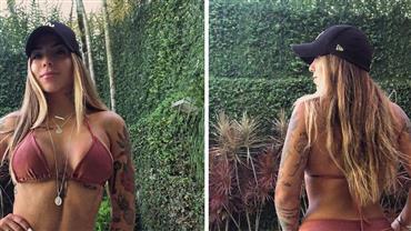 """Petra Mattar ostenta curvas de biquíni em clique """"frente e verso"""" e fã repara: """"Que corpo é esse?"""""""