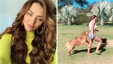 """Rafa Kalimann leva mordida de cachorro no bumbum durante gravação de vídeo: """"Alfredo me atacou"""""""
