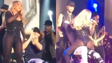 Mariah Carey faz lap dance e deixa o bumbum à mostra