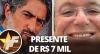Marcos Mion presenteia Boninho com um par de chinelos de luxo