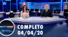 Assista à íntegra do RedeTV News de 04 de abril de 2020