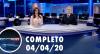 Assista à íntegra do RedeTV News de 04 de abril de 2020