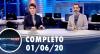 Assista à íntegra do RedeTV News de 01 de junho de 2020