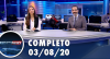Assista à íntegra do RedeTV News de 3 de agosto de 2020