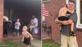 Menino cai no choro ao abraçar avós novamente após isolamento pela pandemia