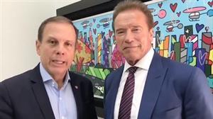 """""""Ele é meu amigo"""", diz João Doria após encontro com Arnold Schwarzenegger"""
