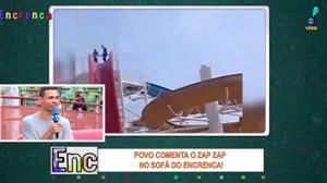 Galera no sofá do Encrenca comenta os vídeos mais loucos do Zap Zap