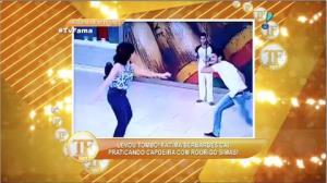 F�tima Bernardes leva tombo ao praticar capoeira com Rodrigo Simas