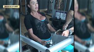 Gracyanne Barbosa faz cara de choro em exercício de agachamento