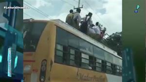 Crianças são flagradas viajando sobre teto de ônibus na Índia