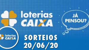 Loterias Caixa: Mega-Sena, Dupla Sena, Dia de Sorte e mais: 20/06/2020