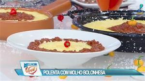 Edu Guedes ensina receita de polenta com molho bolonhesa