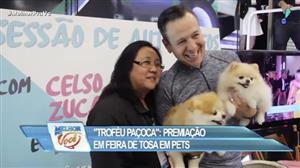 """Zuca mostra o """"Trófeu Paçoca"""" em feira especial para os pets"""