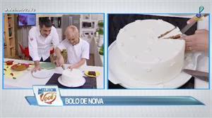 Edu Guedes e convidada ensinam receita de bolo de noiva