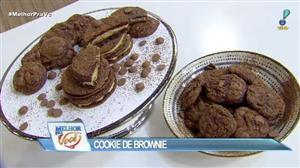 Edu Guedes e convidada ensinam a fazer cookie de brownie