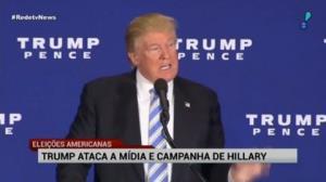 Trump ataca m�dia e campanha de Hillary em discurso