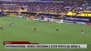 Internacional vence Criciúma fora de casa e se aproxima da Série A