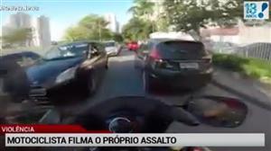 Motociclista filma tentativa de assalto contra si mesmo