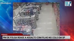 PM reage a assalto com filho no colo no interior de SP
