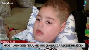 Após um ano de espera, menino Gianlucca recebe remédio vital para sua vida