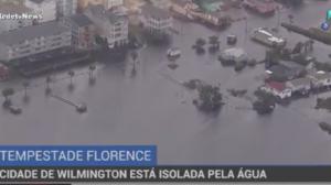 Cidade nos EUA está isolada após passagem do furacão Florence