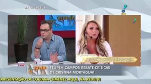 Felipeh Campos rebate cr�ticas que Cristina Mort�gua fez durante Super Pop