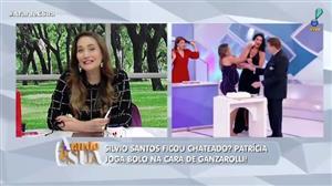 Silvio Santos ficou chateado? Patrícia joga bolo em Helen Ganzarolli