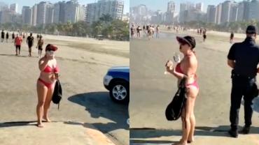 """Mulher se recusa a usar máscara na praia e ofende GCM: """"Trabalho sujo"""""""