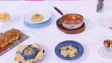 Aprenda a fazer tahine, shakshuka e salada de pepino com tomate