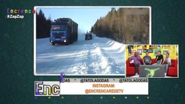 Motorista grava momento em que escapa de acidente na neve
