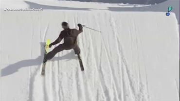 Esquiador suíço realiza manobra inédita e assustadora