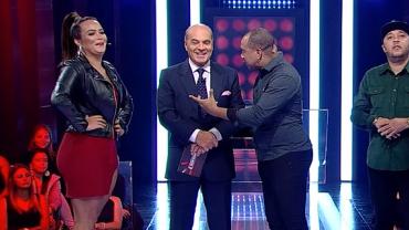 """Rolou clima? Geisy Arruda e Anderson, do Molejo, dão """"match"""" no Mega Senha"""