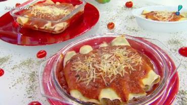 Edu Guedes ensina receita de panqueca de carne com queijo