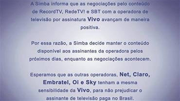 Simba decide manter sinal da RedeTV!, Record TV e SBT na operadora Vivo