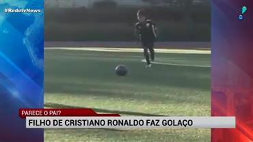Puxou o pai? Filho de Cristiano Ronaldo marca golaço